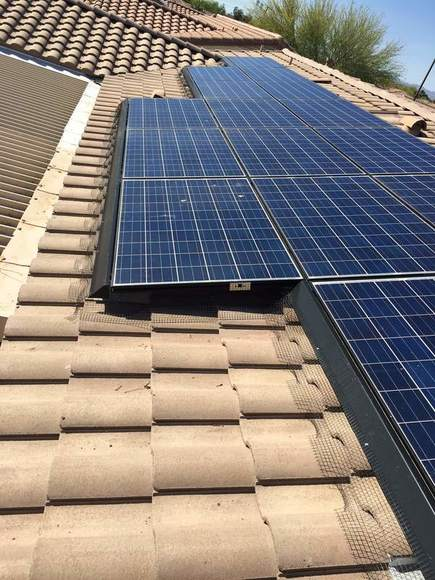 clean, quality pigeon control barriers around solar panels in goodyear az